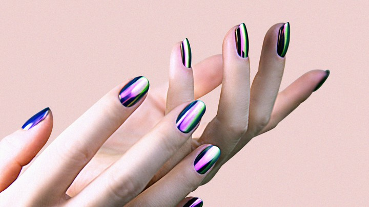 Light nails with metallic stripes