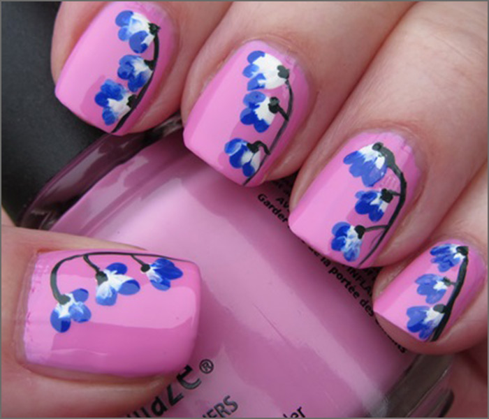 Pink and blue design nails